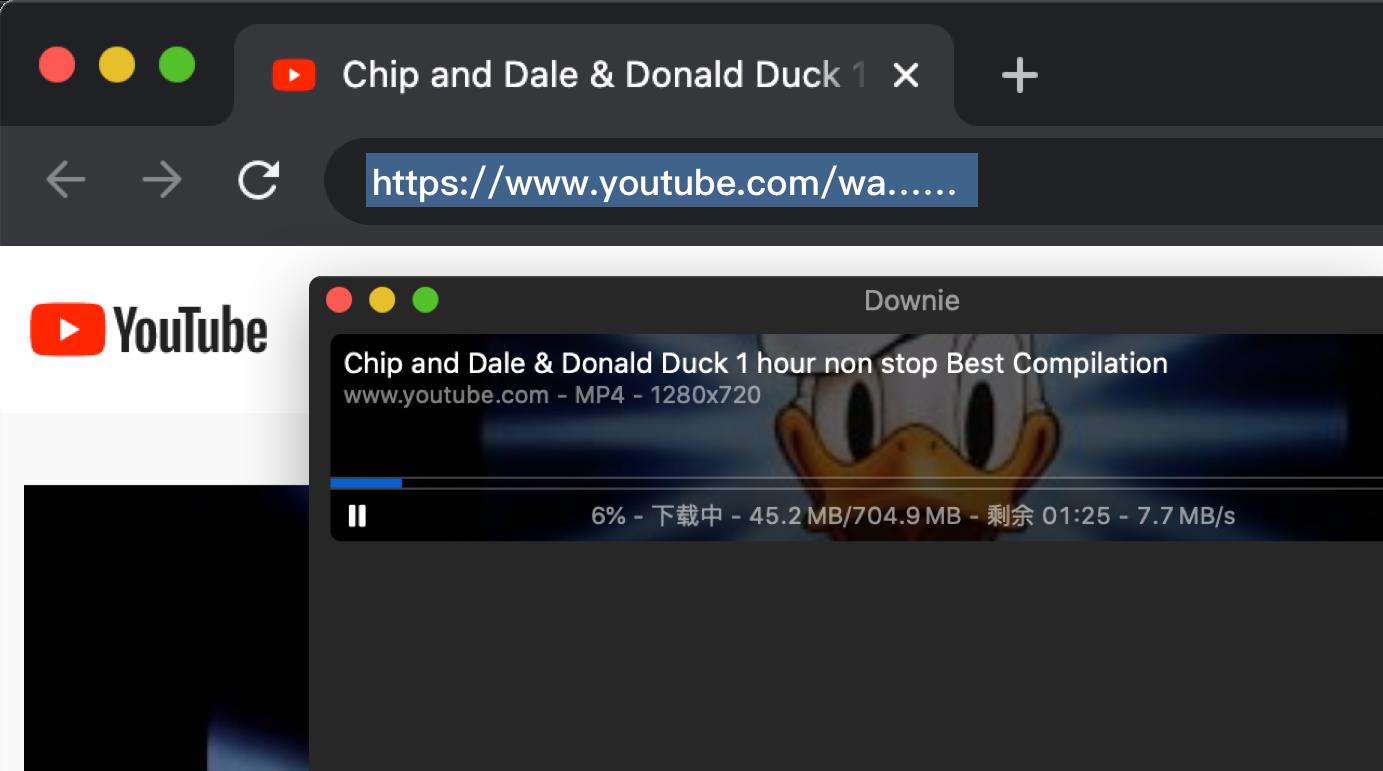 在浏览器中使用 Downie 下载视频